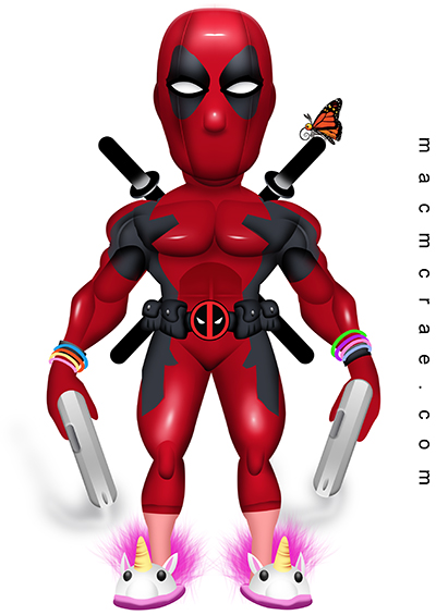 Deadpool With Slippers and a Big Head