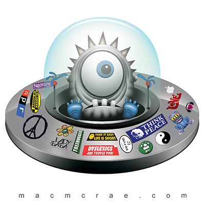 Silver Alien Flying Saucer Stickers