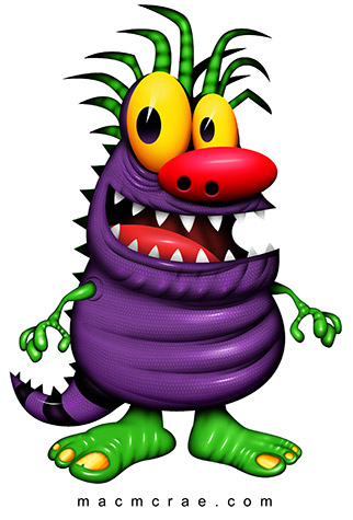 Happy Purple Monster With Green Spiky Hair