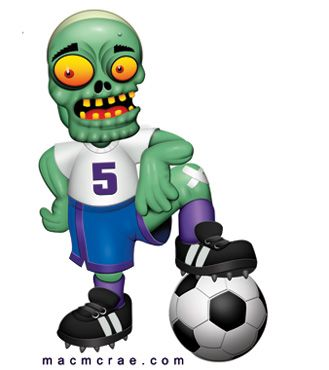 This is a green zombie soccer player