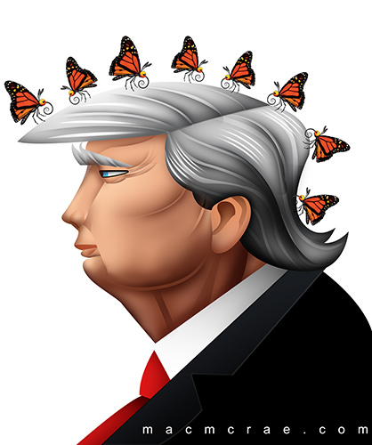 This is an illustrated caricature of donald trump with butterflies