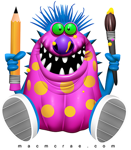 Pink Artist Monster with polka dots