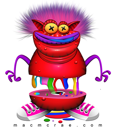 Red Monster With Rainbow Blood Illustration