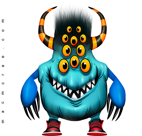 Teal Monster With 10 eyes