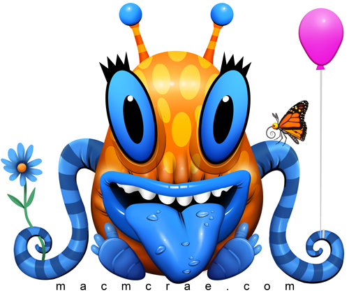 orange monster with blue tentacles
