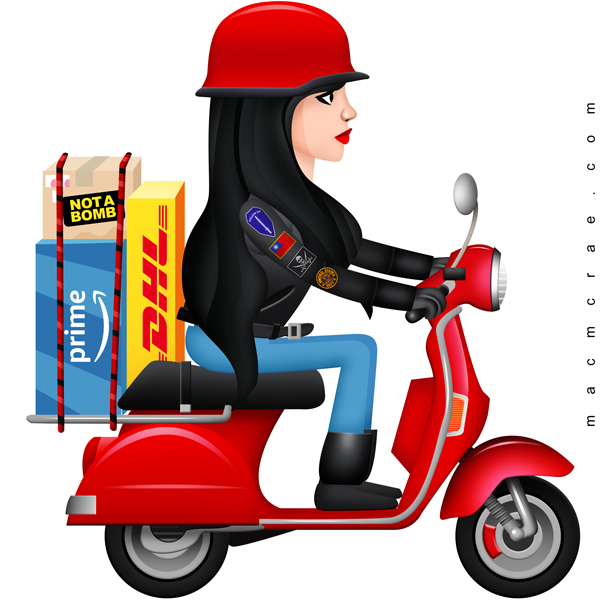 girl riding a scooter with packages
